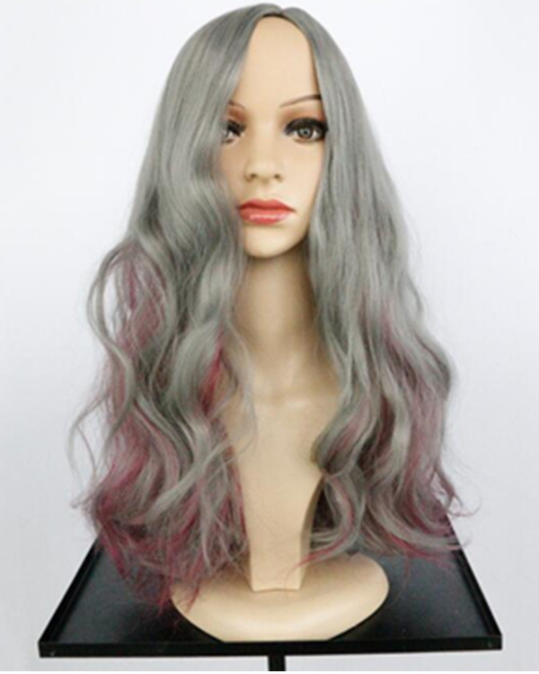 Feshfen Grey Red Highlights Silver Long Wavy Costume Wig For Women