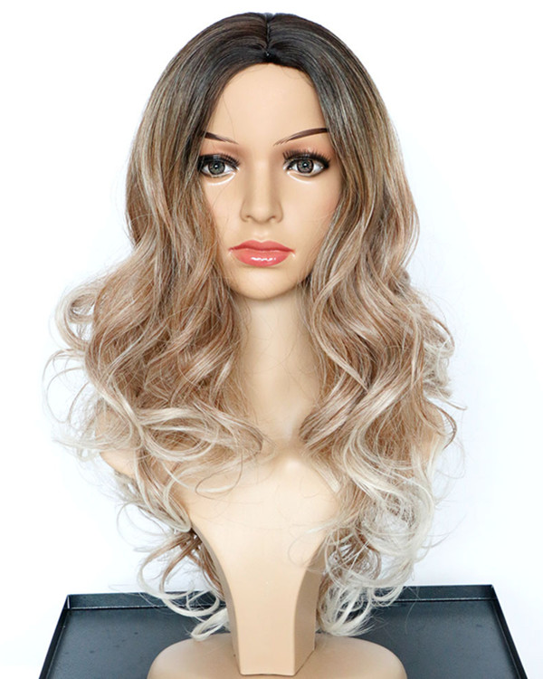 2017 Best Seller New Ombre Gold Long Wavy Costume Wig Blode Ombre Wig For Women