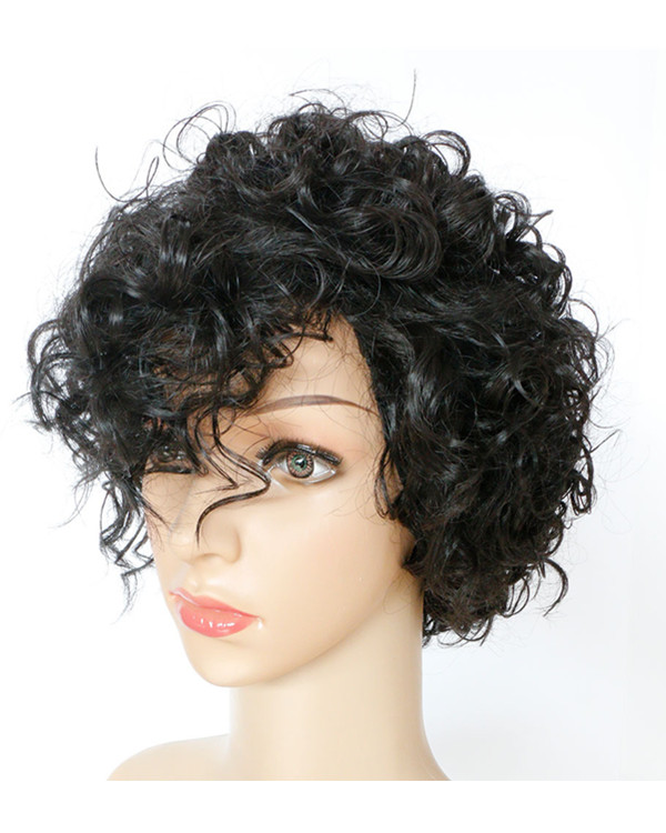 FESHFEN Black Brown Short Curly Wave Wig Synthetic Hair Wig For Women