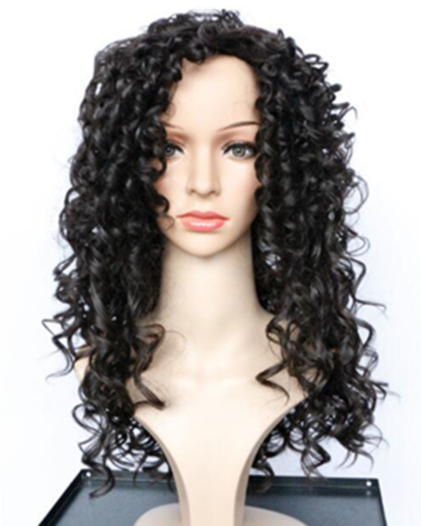 2017 New Black Brown Curly Wave Costume Wig Black Kinky Curly Wavy Wig For Women