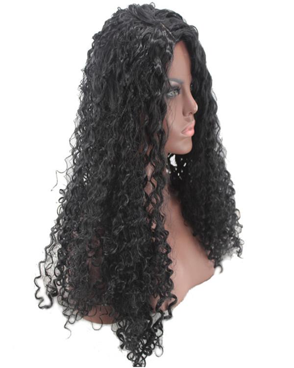 2017 Natural Black Long Curly Wave Costume Wig Black Curly Wig For Women