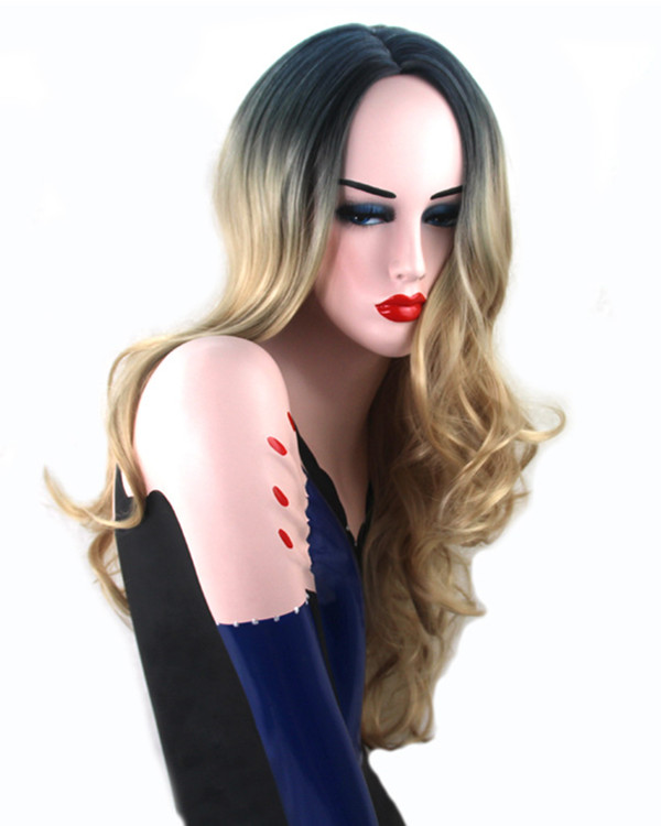 2017 New Ombre Blonde Long Wavy Cosplay Wig Wavy Costume Wig For Women