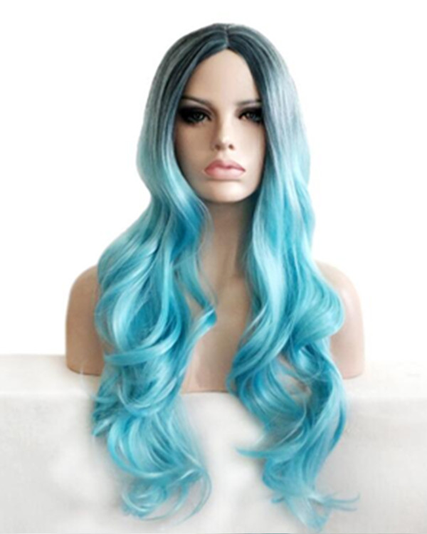 Celebrity Look Black Blue Ombre Long Wavy Costume Wig For Women Party Wig