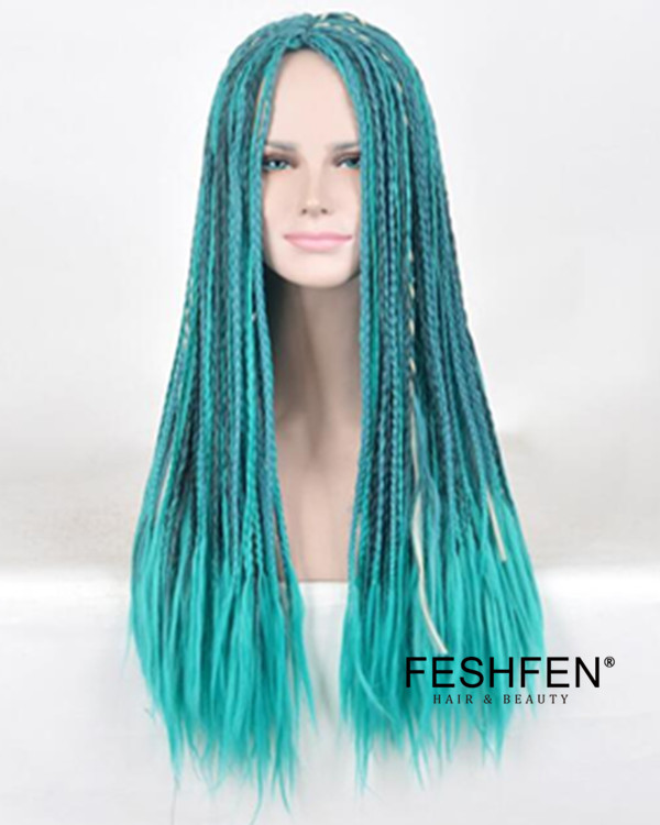2017 New Braiding Wig Long Handmade Braiding Turquoise Green Wig For Women