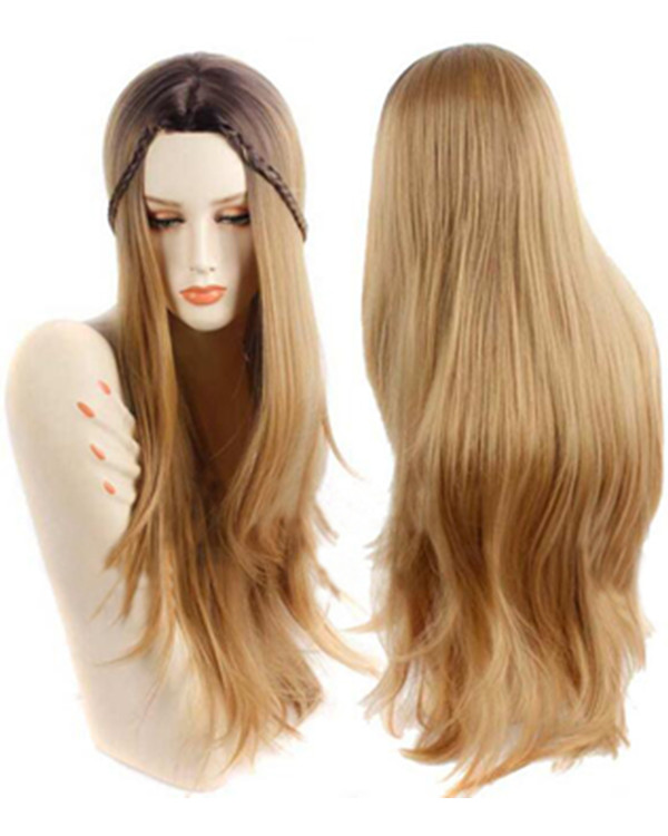 2017 New Light Golden Brown Wig Long Straight Costume Wig For Women