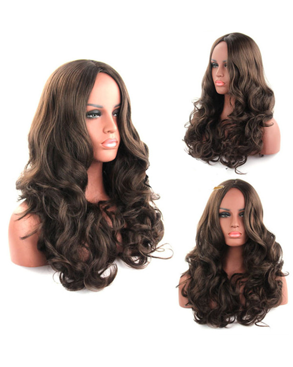 2018 New Brown Long Wavy Cosplay Wig Brown Costume Wig For Women