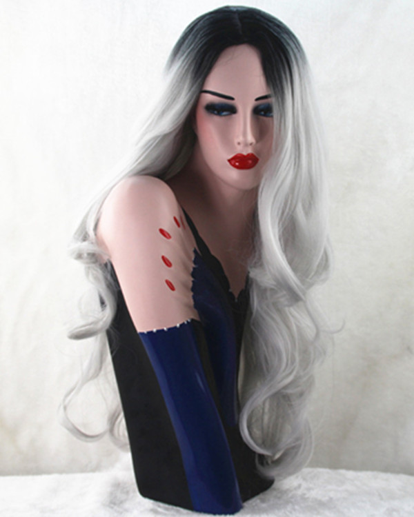 2017 New Ombre Grey Long Wavy Cosplay Wig Granny Grey Ombre Wavy Costume Wig For Women