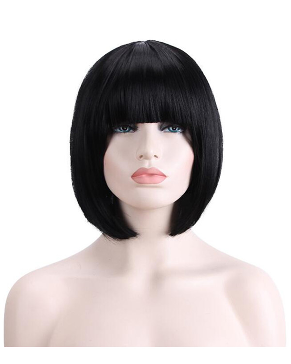 2018 New Black Short Bob Straight Costume Wig For Women Heat Resistant Wig
