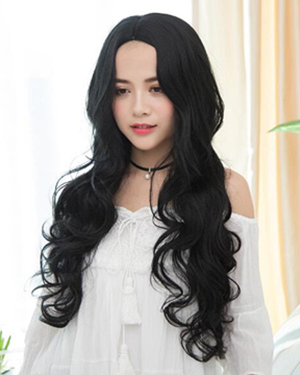 FESHFEN 2018 New Black Middle Part Long Wavy Lolita Wig Black Wavy Costume Wig For Women