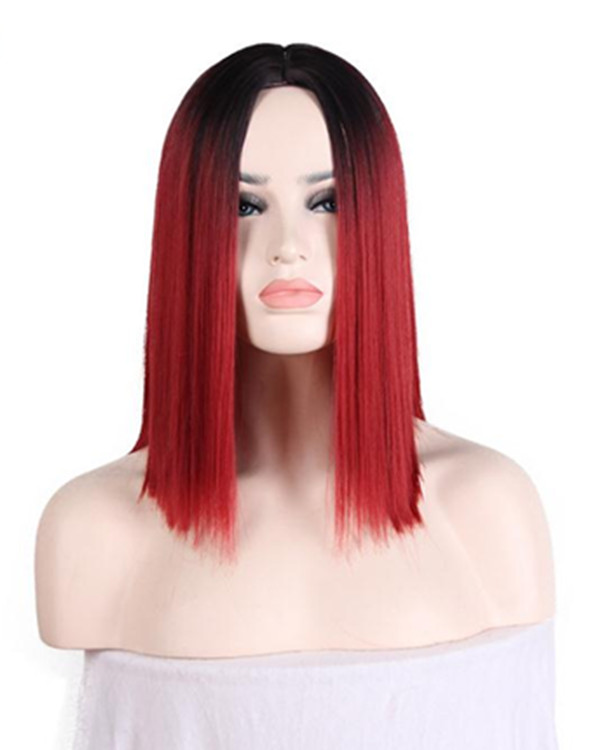 2018 New Wine Red Ombre Heat Resistant #1B/Red Short Bob Straight Costume Wig For Women