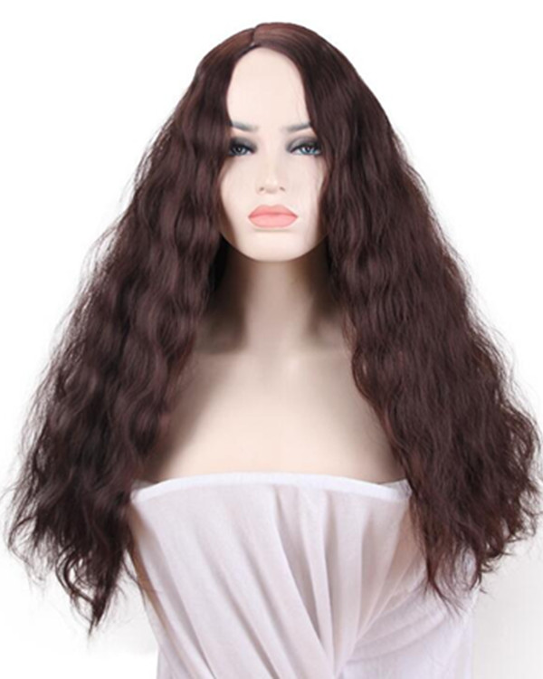 2018 New Dark Brown Long Wavy Costume Wig Elegant Long Wavy Wig For Women (2 Colors Available)