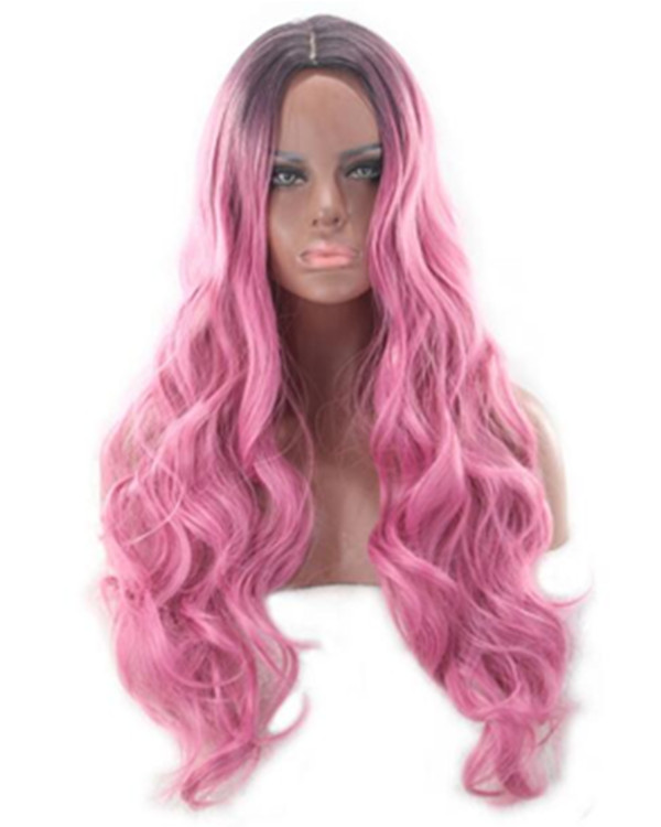 2017 New Magenta Ombre Long Wavy Wig Black Rose Pink Ombre Wig For Women