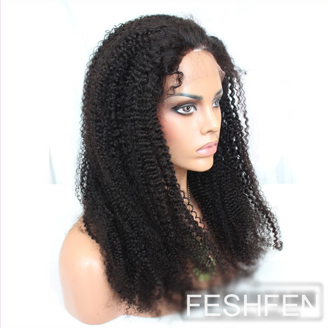 "2b96d59e8 16""Kinky Curly African 100% Remy Hair Full Lace Human Hair Wig For American  African"