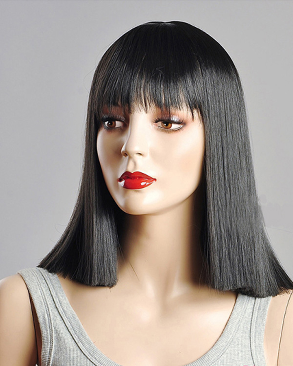 Charming Black Medium Long Straight Wigs Synthetic Hair Wig With Bangs