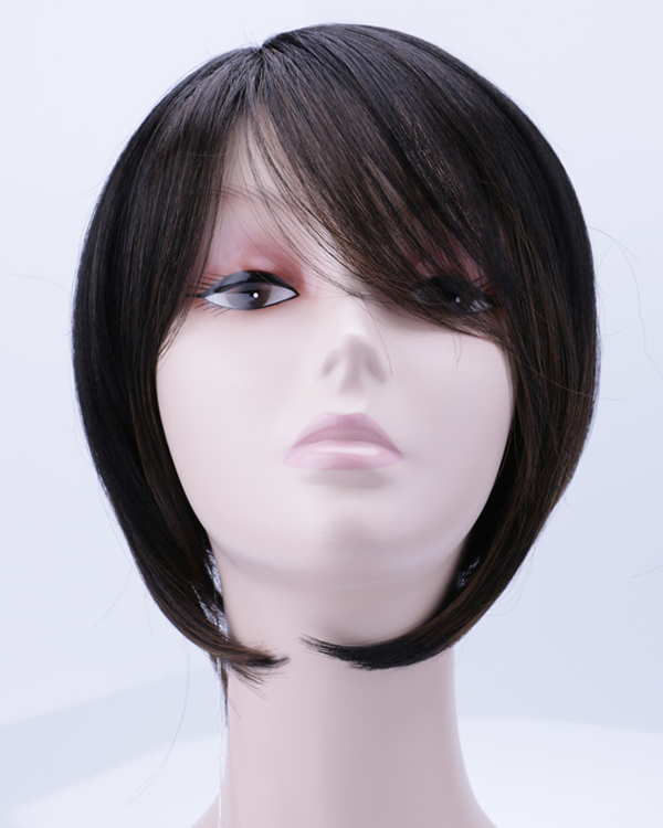 New Black Short Bob Straight Wigs Synthetic Hair Wig With Bangs
