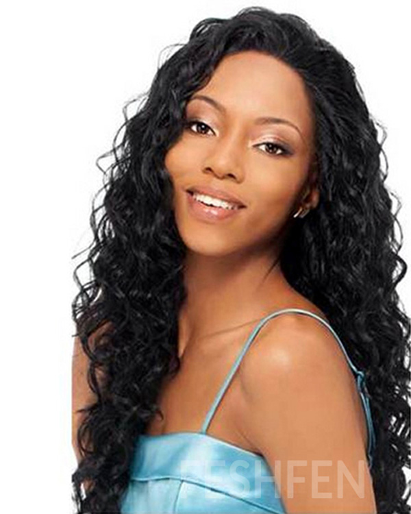"22"" Body Wave 100% Remy Hair Human Hair Full Lace Wigs-#1B Natural Black"