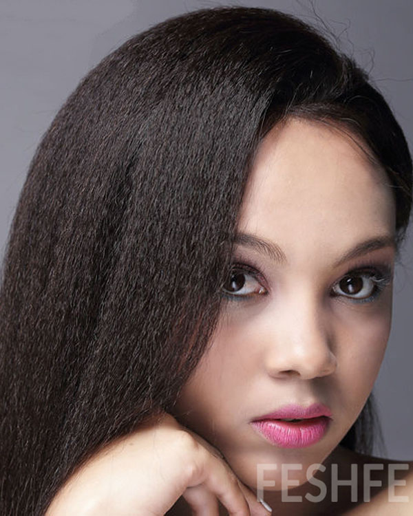 "20""Yaki Straight 100% Remy Hair Full Lace Human Hair Wig-#1B Natural Black"