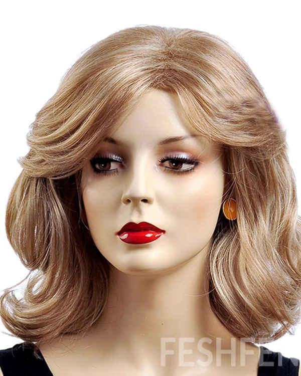 Blonde Medium Long Wavy Wigs Synthetic Hair Wig