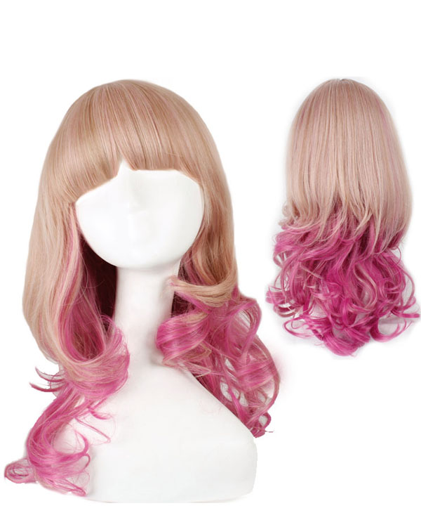 Blonde Pink Mixed Ombre Wig Cosplay Wigs Costumes Wigs For Girls With Bangs