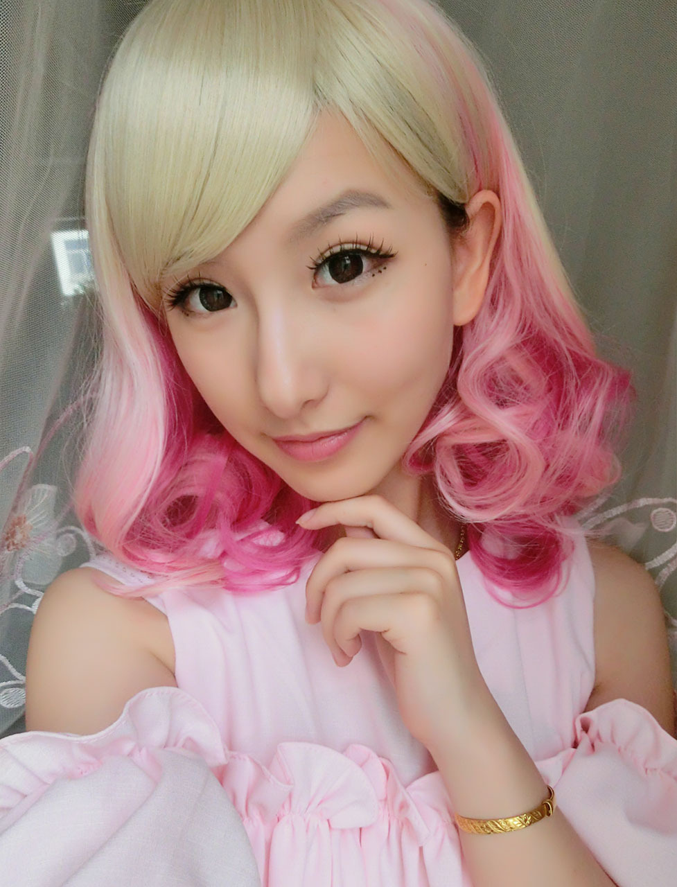 Blonde Pink Mixed Ombre Wig Cosplay Wigs Costumes Wigs For ...