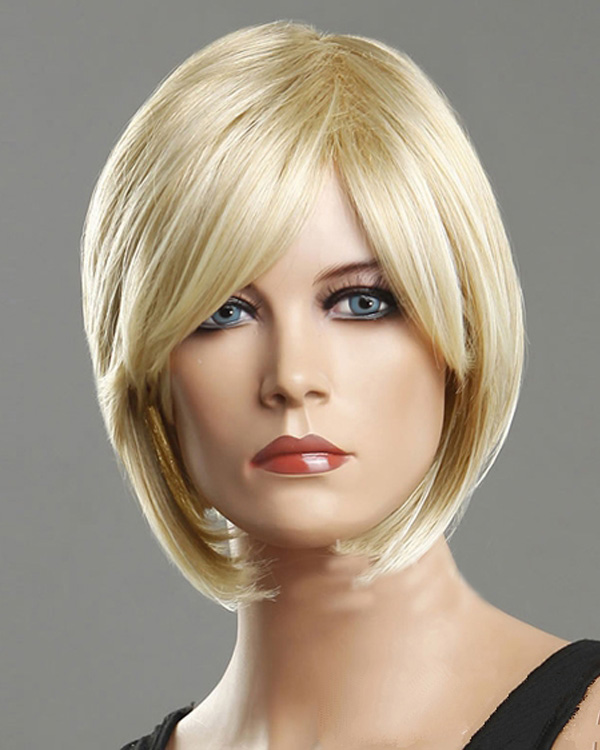 Blonde Short Bob Straight Wigs Synthetic Hair Wig