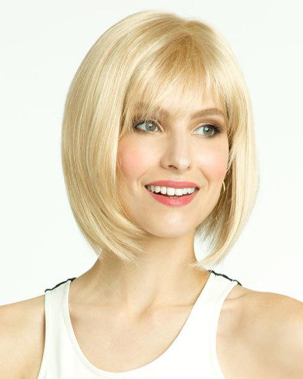 Blonde Short Bob Straight Wigs Synthetic Hair Wig With Bangs