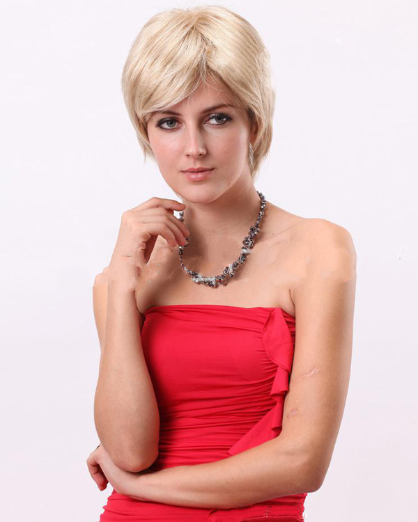 Office Lady Blonde Short Wigs Synthetic Hair Wig