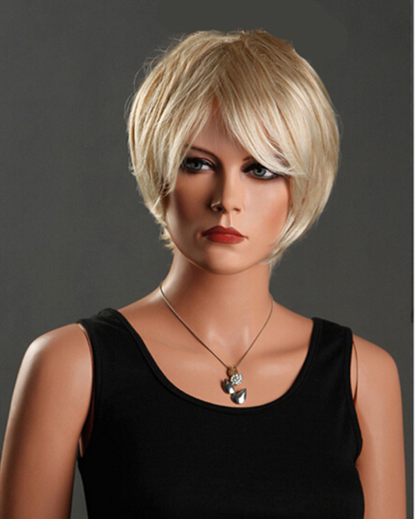 Blonde Short Straight Wigs Synthetic Hair Wig