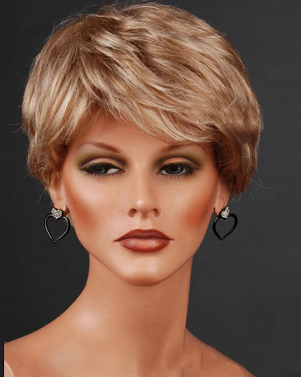 Blonde Short Wavy Wigs Synthetic Hair Wig