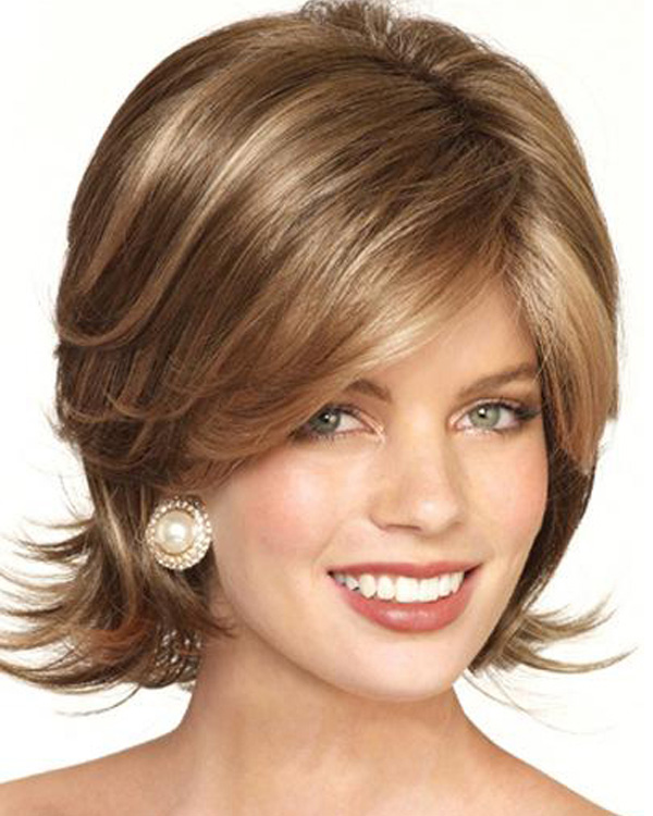 2015 New Fashion Medium Long Wavy Wigs Synthetic Hair Wig