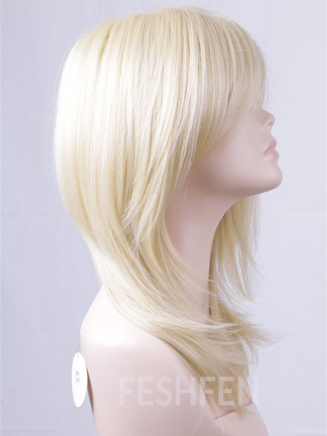 14 613 Bleach White Blonde Long Straight Wigs Synthetic