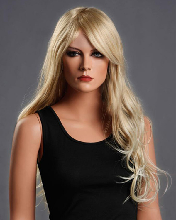 Charming Blonde Long Wavy Wigs Synthetic Hair Wig With Bangs