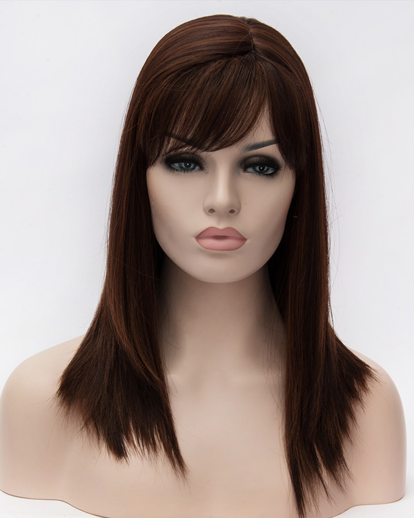 New Brown Long Straight Wigs Synthetic Hair Wig With Bangs