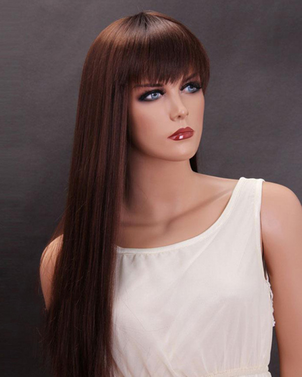 Dark Auburn Long Straight Wigs Synthetic Hair Wig With Bangs
