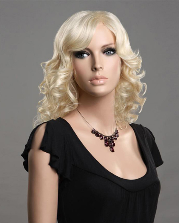 Bleach White Blonde Medium Long Wigs Wavy Synthetic Hair Wig