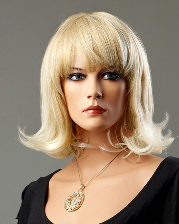 Ash Blonde Medium Long Wigs Wavy Synthetic Hair Wig