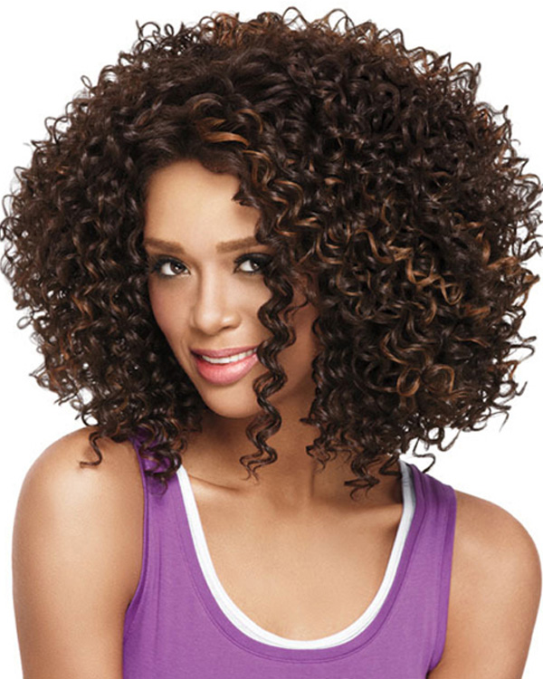 FESHFEN Brown Blonde Highlights Curly Wave Medium Long Wavy Wig Synthetic Hair Kinky Curly Wig