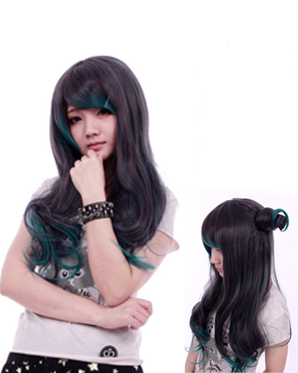 Brown Green Mixed Lolita Cosplay Wig Wavy Women's Costume Wig