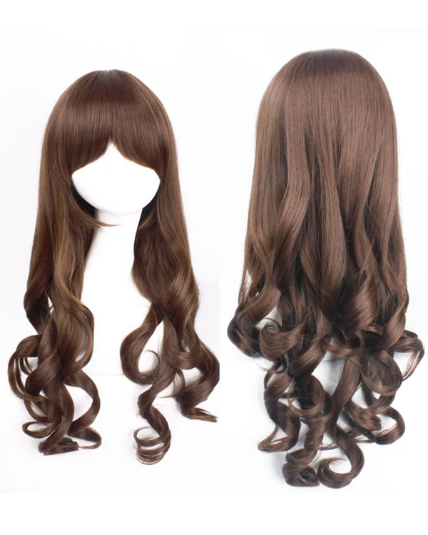 70cm Brown Wavy Cosplay Wigs Costumes Wigs For Ladies With Bangs