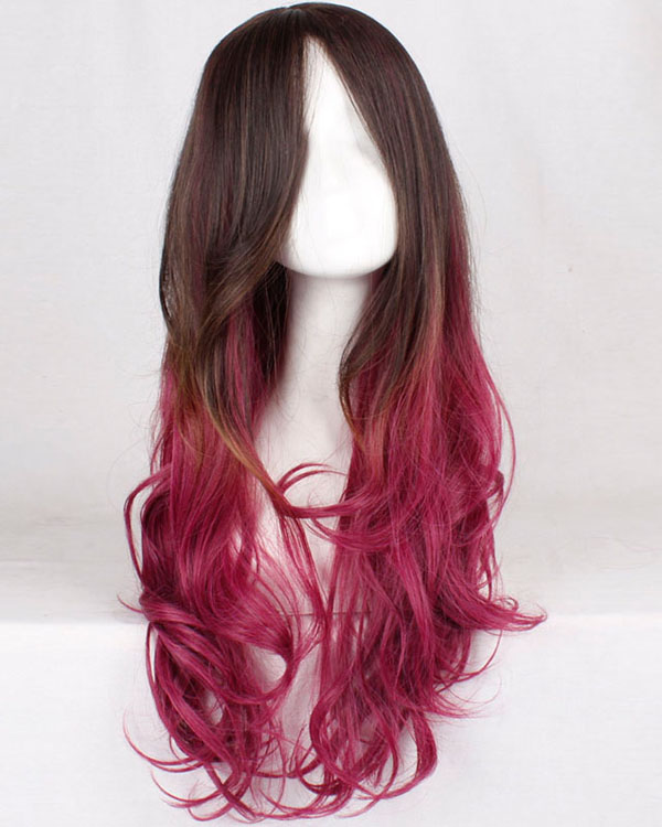 Brown Red Ombre Cosplay Wig Wavy Womens Costume Wig