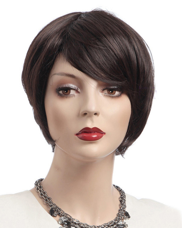 Dark Brown Short Wigs Synthetic Hair Wig With Bangs