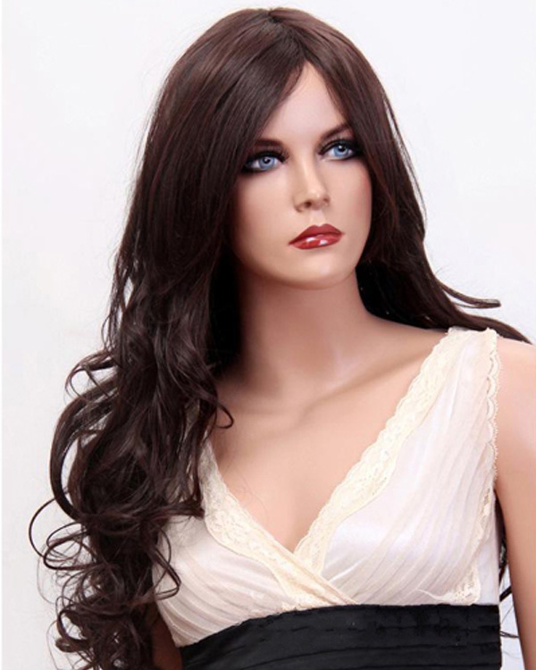 Dark Brown Long Body Wave Wigs Synthetic Hair Wig
