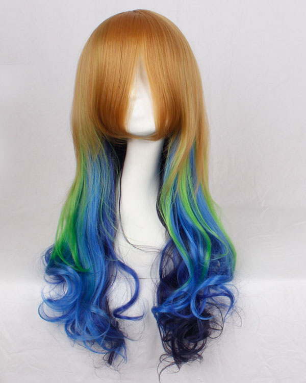 Coloful Cosplay Wig Brown Blue Green Ombre Long Wavy Costume Wig
