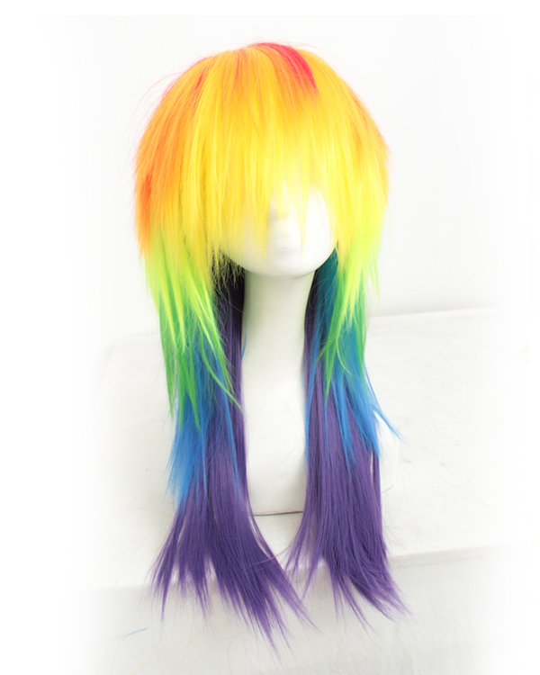 My Little Pony Rainbow Cosplay Wig Long Straight Colorful Costume Wig Party Wig