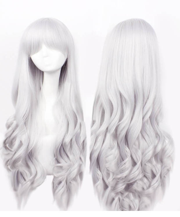80cm White Grey Long Wavy Cosplay Wig Costumes Wig For Girls With Bangs