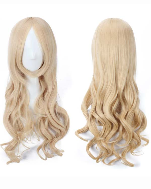 80cm Blonde Wavy Cosplay Wigs Costumes Wigs For Girls With Bangs Party Wig