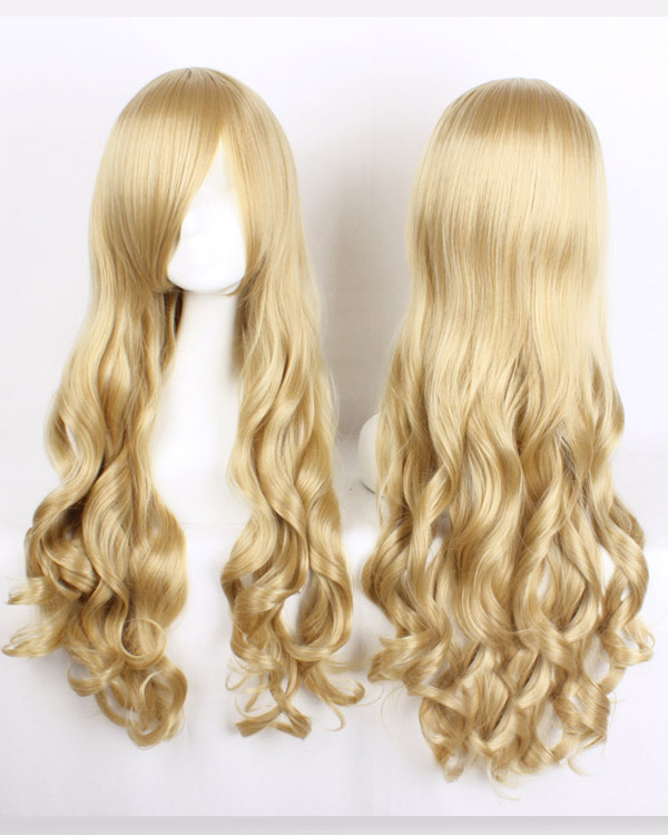 80cm Blonde Wavy Cosplay Wigs Costumes Wigs For Girls With Bangs