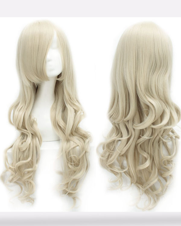 80cm Ash Blonde Wavy Cosplay Wigs Costumes Wigs For Girls With Bangs