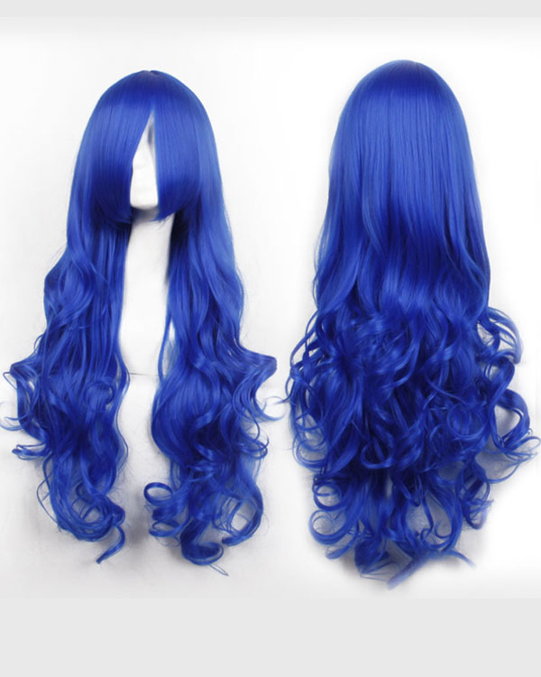 80cm Blue Wavy Cosplay Wigs Costumes Wigs For Girls With Bangs
