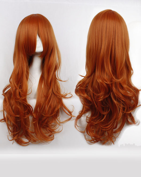 80cm Copper Red Orange Wavy Cosplay Wigs Costumes Wigs For Girls With Bangs Party Wig
